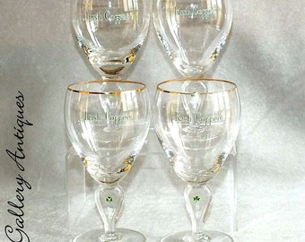 "Four Vintage Cut Glass Stemmed Irish Coffee Glasses with Green Shamrock Design on Stem c.1970's 5 5/8"" Tall (ref: 2210)"