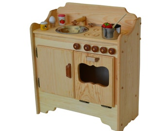 Play Kitchen- Waldorf Wooden Play Kitchen- Wooden Toy Kitchen- Child's Kitchen' Montessori Stove-Play Stove- Wooden Toys- Pretend Play Food