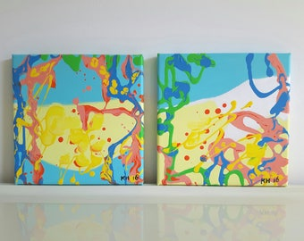 Amalfi Procida Sorrento abstract modern painting diptych