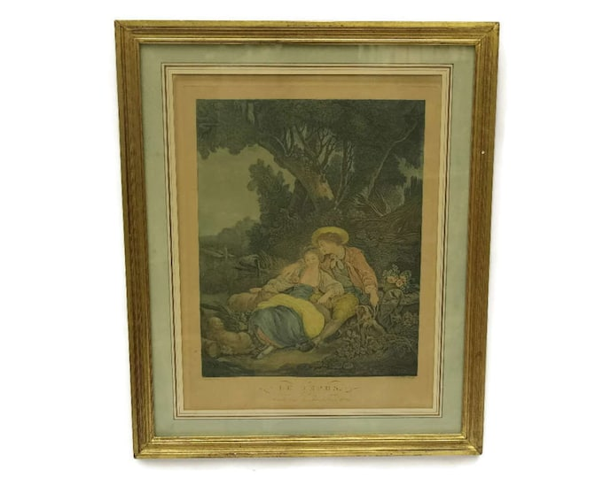 French Antique Engraving Le Repos by Bonnefoy after Boucher.