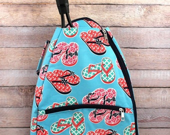 Flip Flop Fun Tennis Racket Backpack/ Unique Tennis Backpack/ Youth Tennis Backpack/ Preppy Tennis Backpack