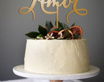 Cake Topper Amor - Wedding Cake Topper - Gold Cake Topper