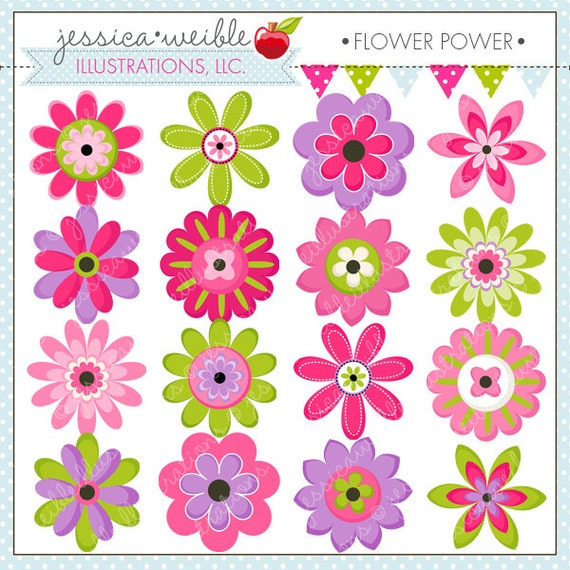 flower power cute digital clipart commercial use ok flower rh etsy com cute colorful flower clipart cute flower clipart black and white