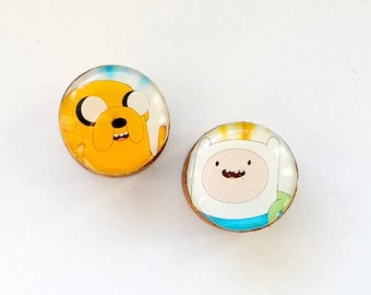 Adventure Time wooden ear Plugs. Finn human and Jake the Dog. Image, print, picture to order. Custom wood earlugs big, middle, small sizes.
