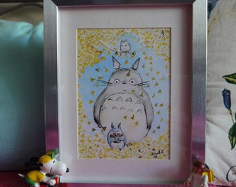 Totoro Gingko Biloba in Autumn, original watercolor print