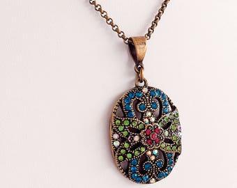 Victorian Necklace - Blue - Victorian Jewelry - Pendant - CONFETTI Glitter
