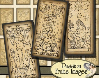 Antique Tarot Card 1x2 Domino Tile Digital Collage Sheet-- Instant Download