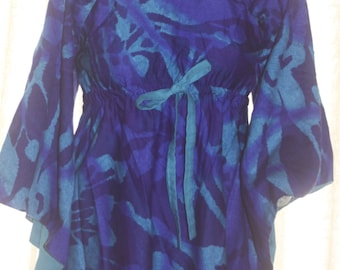 Vintage Lila Boho 60's Hawaiian bell sleeved long Caftan Dress M