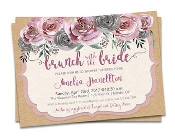 Pink Floral Bridal Shower, Bridal Brunch Invitation, Brunch Bridal Shower Invitation Pink, Printable Bridal Brunch Shower Invitation