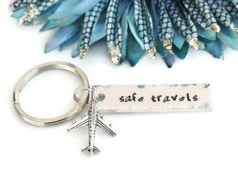 Safe Travels Hand Stamped Keychain | Aluminum Keychain | Travel Gifts | Airplane Keychain | Fly Safe | Wanderlust | Travel Accessories