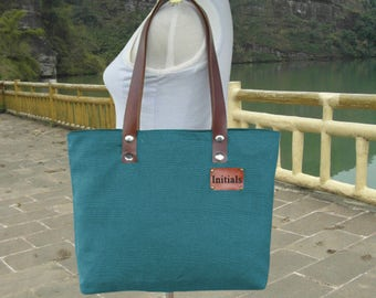 Teal green canvas tote bag leather strap shoulder bag women, diaper bag, personalized hand bag leather tag school bag Mothers Day Gift