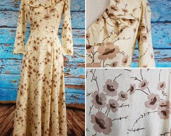 70s silk floral maxi dress.