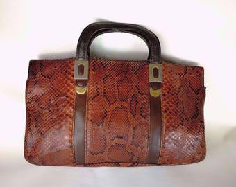 Vintage bag years 50 reptile python brown Phyton hand bag reptile SAC