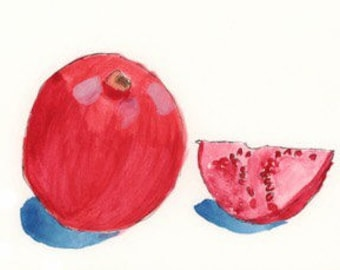 "Pomegranates, 5""x7"" print of an original watercolor"