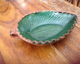 Vintage terra cotta red clay hand crafted leaf shaped Mexican salsa bowl