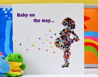 Baby On The Way Card, Pregnancy Announcement Card, Butterfly card, Baby shower Card, Expecting card, Having a Baby Card, Mum to be card