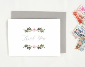 Thank You Cards. Wedding Thank You. Thank You Card Set. Wedding Stationary. Floral Notecards. Blank Notecards. Baby Thank You Notes. TY11