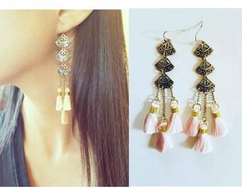 Gift for her, Bohemian earrings, chandelier earrings, festival earrings, gypsy earrings, ethnic earrings, long earrings, tassel earrings