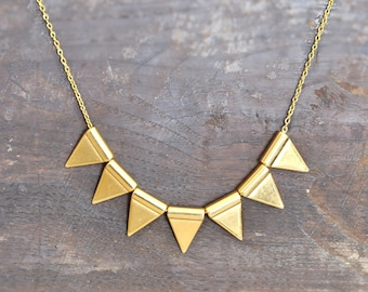 Triangle Pennant Banner Necklace - Metal Necklace - Geometric Tribal Necklace - Raw Gold Triangles - Free Shipping Jewelry - Gift Box