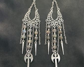 Axe Wielding Druidess: Labradorite & Axe Earrings
