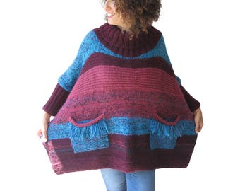 Colorful Loose Fit Hand Knitted Wool Sweater