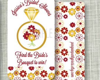 Set of 24 Bridal Ring Scratch off Cards for a Bridal Shower Scratch Off Cards or Bachelorette Party, Personalized with the Bride's Name