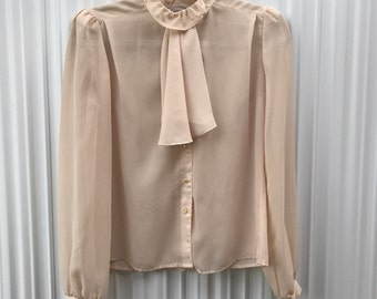 Ruffle Long Sleeve Botton Down
