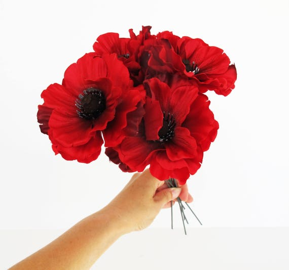 24 red poppies artificial flowers silk dark red poppy 4 flower 24 red poppies artificial flowers silk dark red poppy 4 flower floral hair accessories wedding anemones supplies faux fake anemone from flowersfield on mightylinksfo