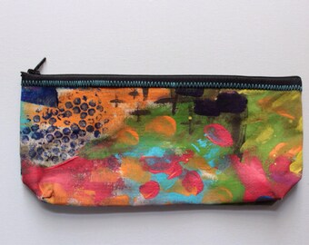 Canvas Zip Pouch - hand painted pencil makeup clutch ZPG06