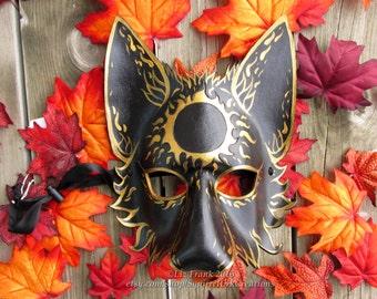 Wolf Mask, Animal mask, Leather, Mystic Sun Wolf,  LARP costume, Theater Accessory, Mardi Gras,  Cosplay, Fantasy mask