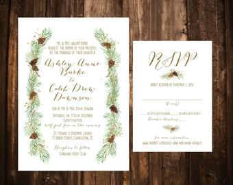 Winter Pine Wedding Invitations; Printable OR set of 25