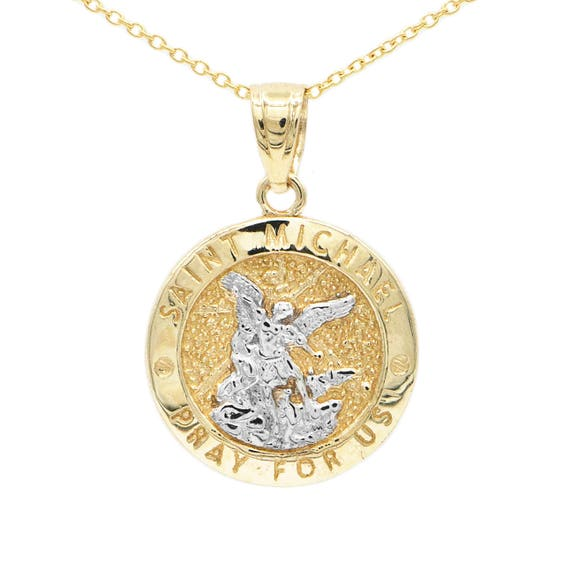 10k yellow gold saint michael medallion with gold chain st mozeypictures Image collections