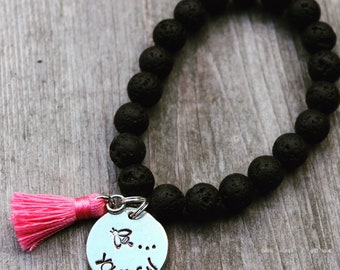 Bee Youtiful Lava Bead Bracelet with Tassel - Hand Stamped Pewter Charm Lava Bead Bracelet - Essential Oil Diffuser Lava Bead Bracelet