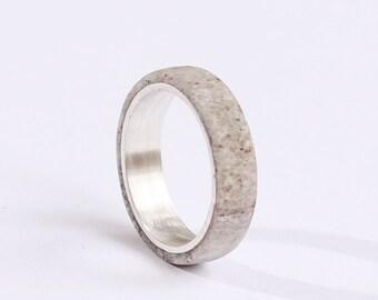 Women Wedding Ring,  Sterling Silver Band, Antler Wedding Ring, Turquoise Swarovski Ring