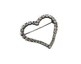 broche coeur strass vintage / ton argent / la Saint-Valentin amour / bijoux fantaisie Vintage broche pin / vintage / vintage bijoux