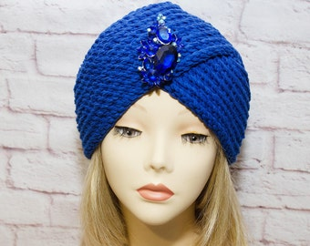 blue knitted cap turban knit turban blue turban winter accessories winter turban blue turban hat turban turban crossed blue turban blue knit