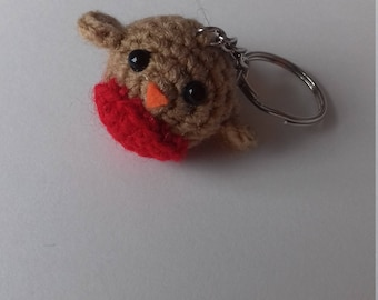 Hand crocheted mini robin keyring