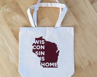 Wisconsin is Home Tote Bag, Farmer's Market bag, Reusable Bag, Canvas Tote Bag, Wisconsinite
