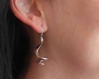 Spiral earrings, sterling silver, handmade