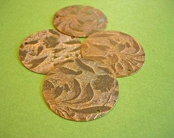 vintaj brass embossed vine pendant, brass vine pendant, embossed pendant, 2 pieces vintaj 34mm