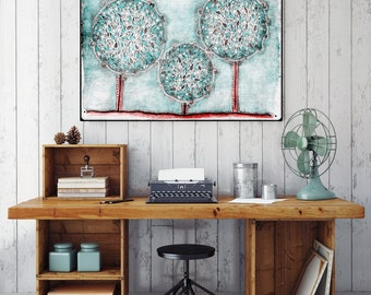 """Original Watercolor Painting - Winter Snow Trees - 8.5x12"""" up to 24x34"""" Art Print, Wall Decor, Illustration"""