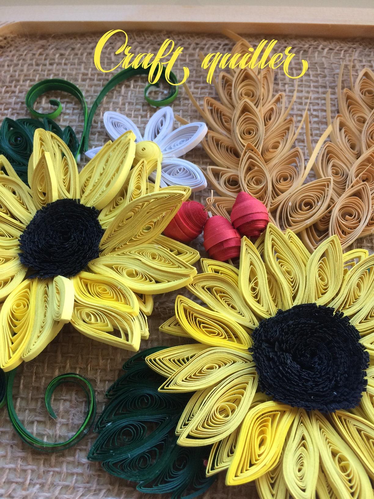 Quilled sunflowers,Modern decoration, 3D wall art, wall décor ...