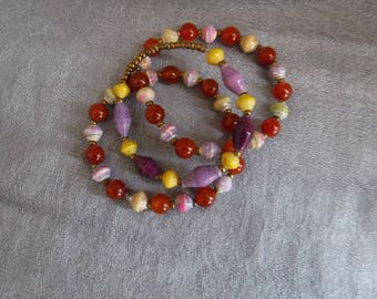 African Multicolored Paper Bead and Orange Agate Bracelet