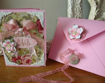 Shabby Chic Note card pink and green floral paper art card embellished greeting card with gift box for friend