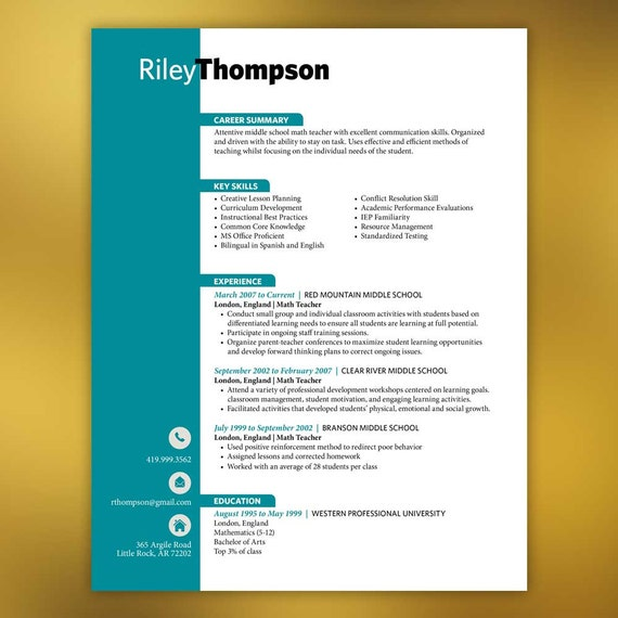 Resumes | Teacher Resume Template | 3 Pages | Microsoft Word | Teal ...