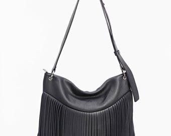 Leather crossbody bag, boho leather bag, Black Leather shoulder bag, Purse, Fringes, Black leather bag