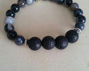 Black Agate (banded) and Lava Stone Gemstone Bracelet