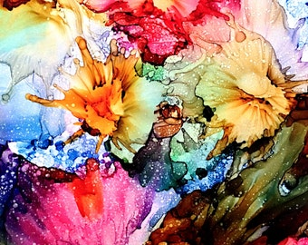 Alcohol ink painting. PRINT. Abstract.  Spring Bursts.