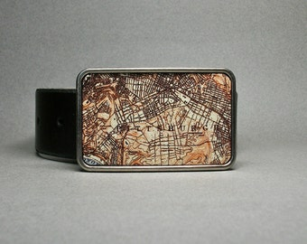 Belt Buckle Pittsburgh Pennsylvania Map Unique Gift for Men or Women