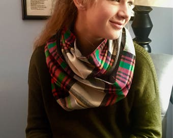 Infinity Scarf, Plaid, Reversible, monogram available.